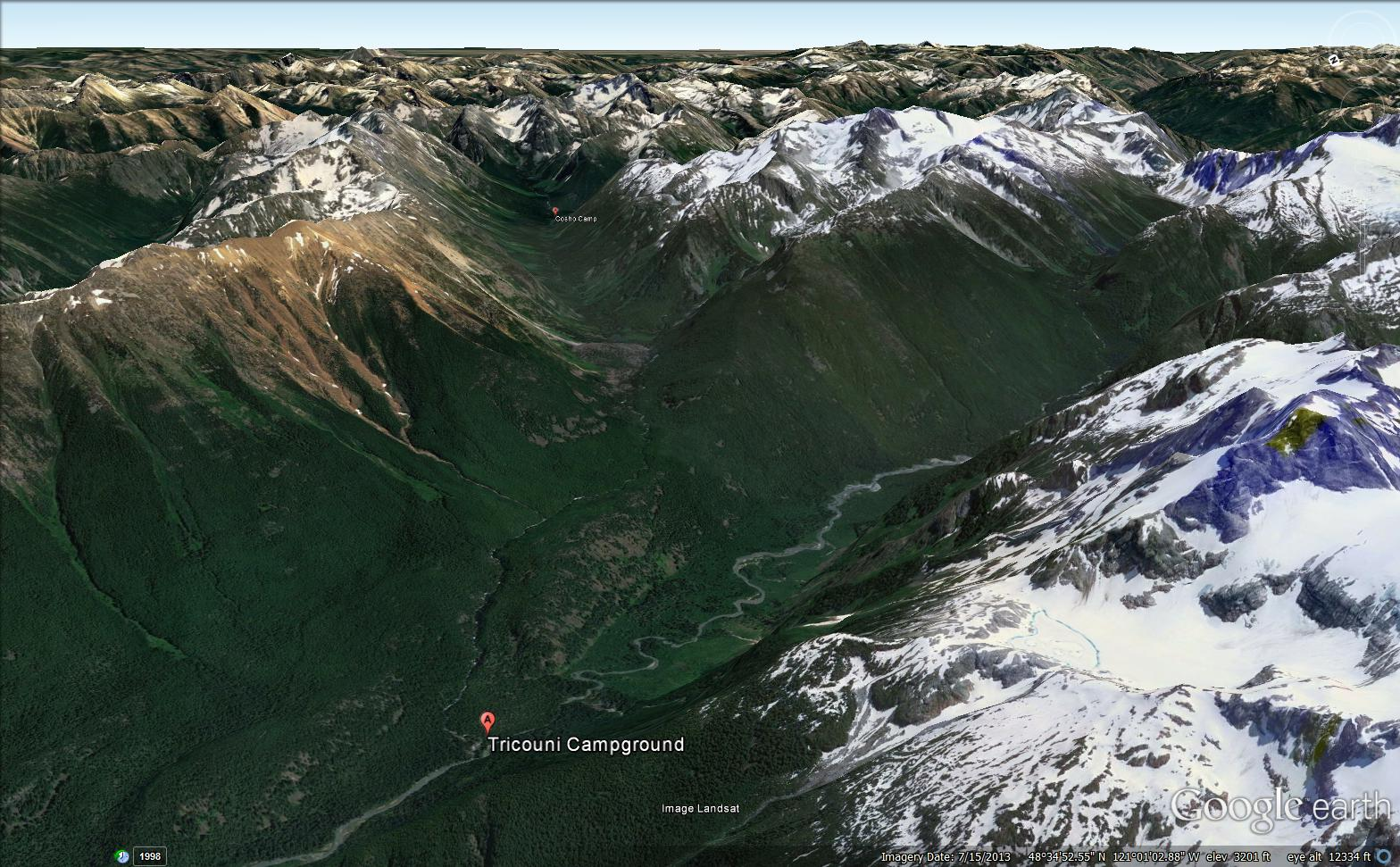 Cosho campground is the tiny red dot in the small valley above Tricouni.