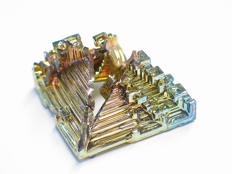Bismuth Crystal (retrived from Wilimedia commons)