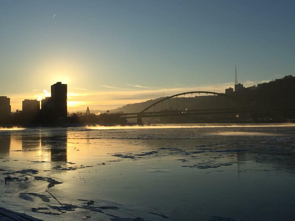 The frozen rivers around Pittsburgh