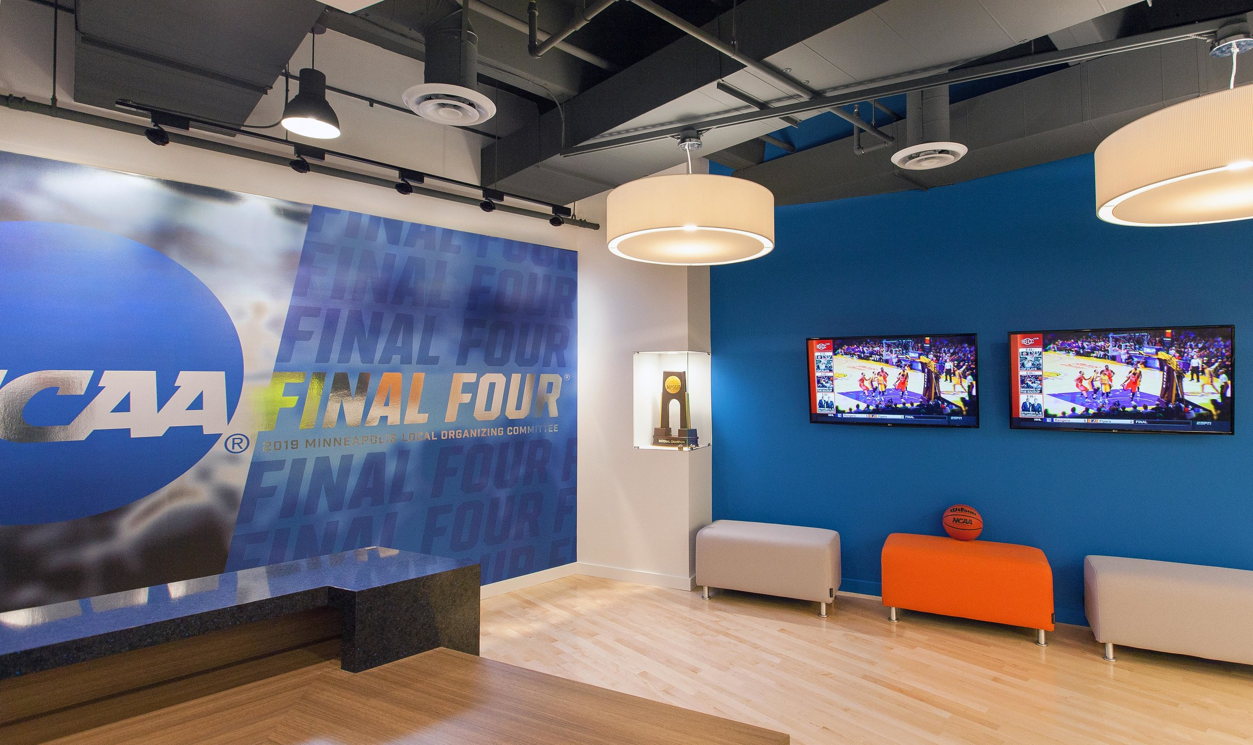 Wall graphics designed for the NCAA Final Four Minneapolis LOC Office. Photos courtesy of Tracy Walsh and DLR Group.