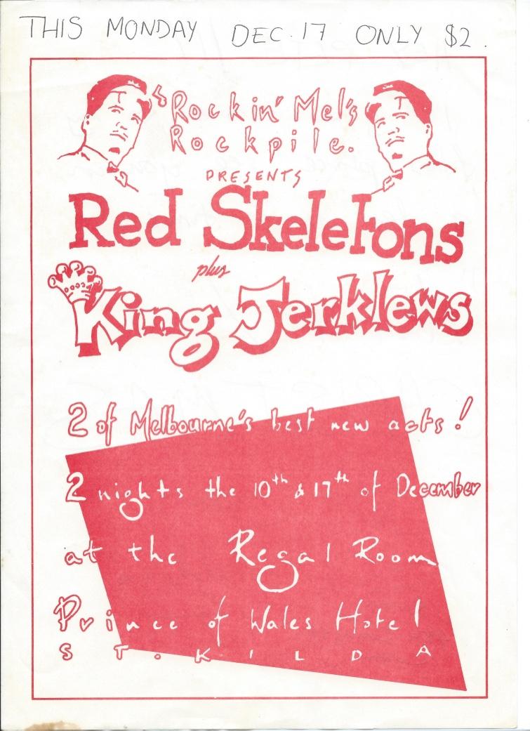 Red Skeletons / King Jerklews, band flyer