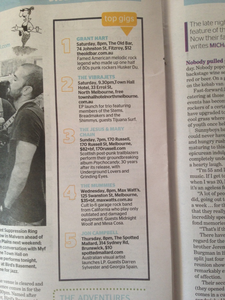 Top Gigs, The Age, Shortlist