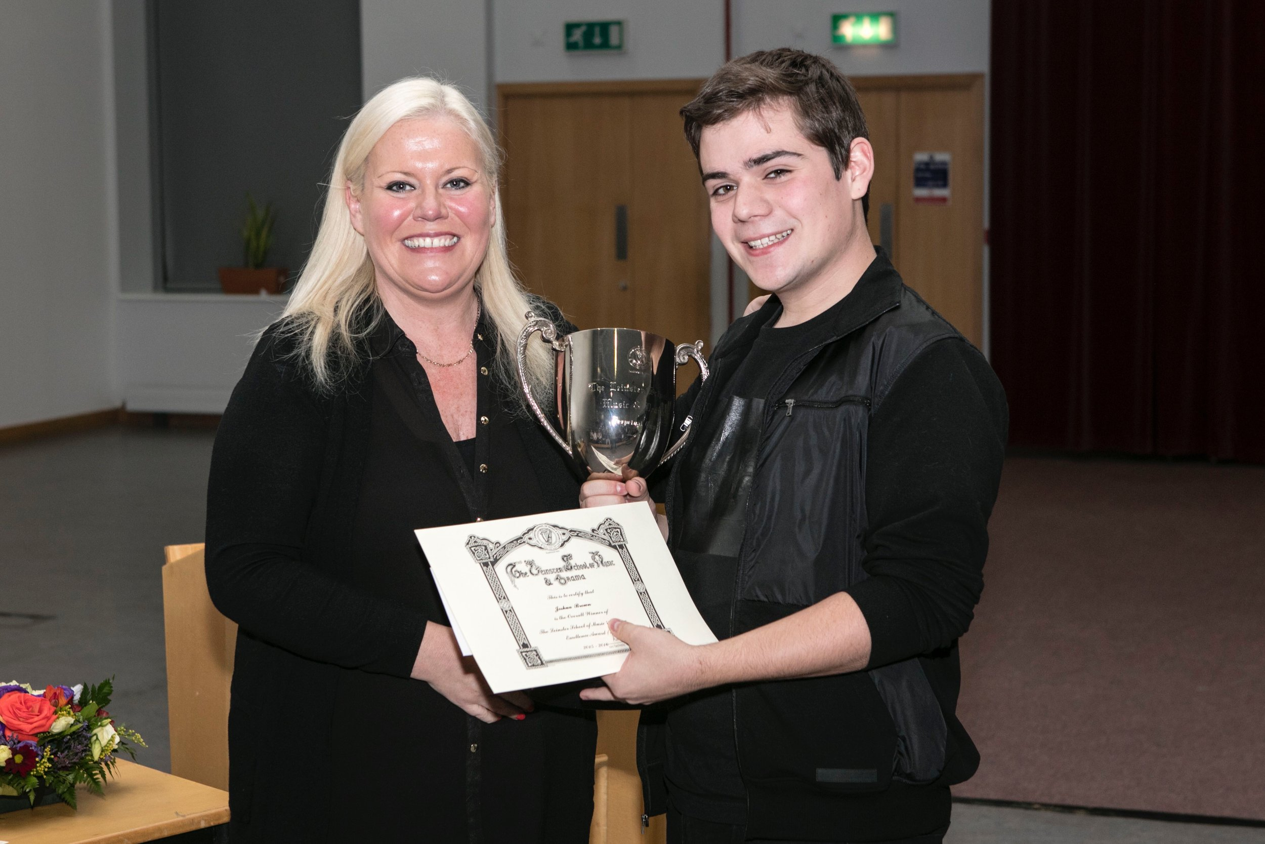 Joshua receiving the Leinster School of Music & Drama Excellence Award 2016