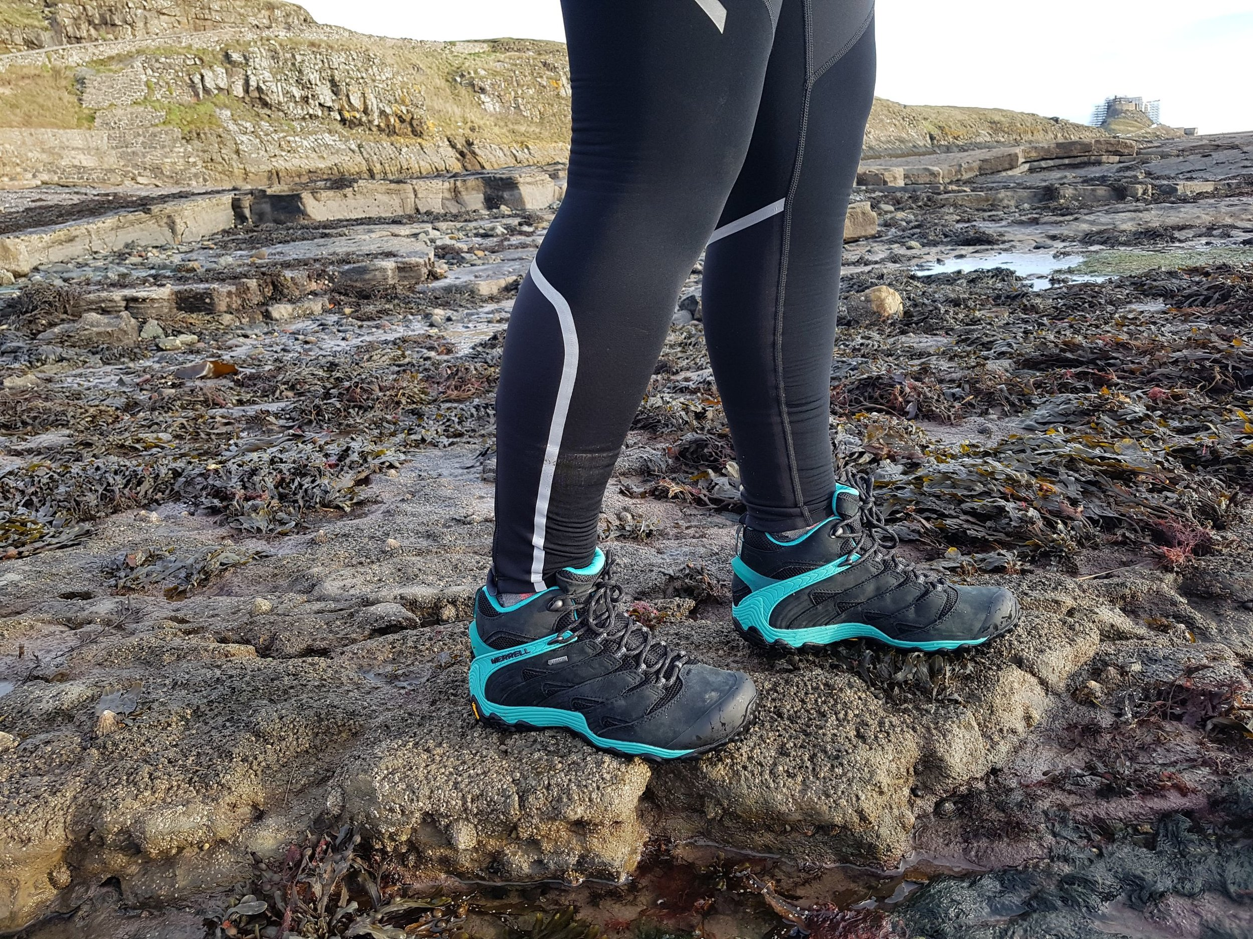 Testing the Merrell Chameleon 7 Mid Gore Tex on the beach on Holy Island