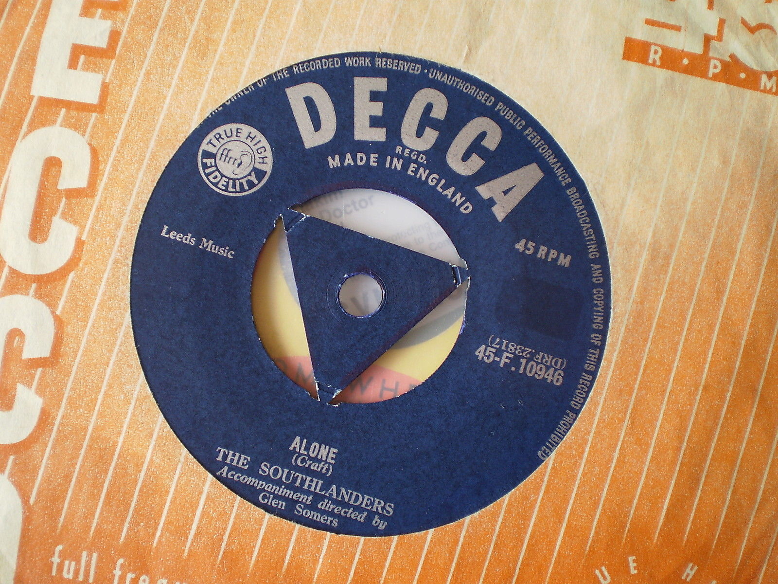 Jim's first single he appeared on, 'Alone' by the Southlanders 1957