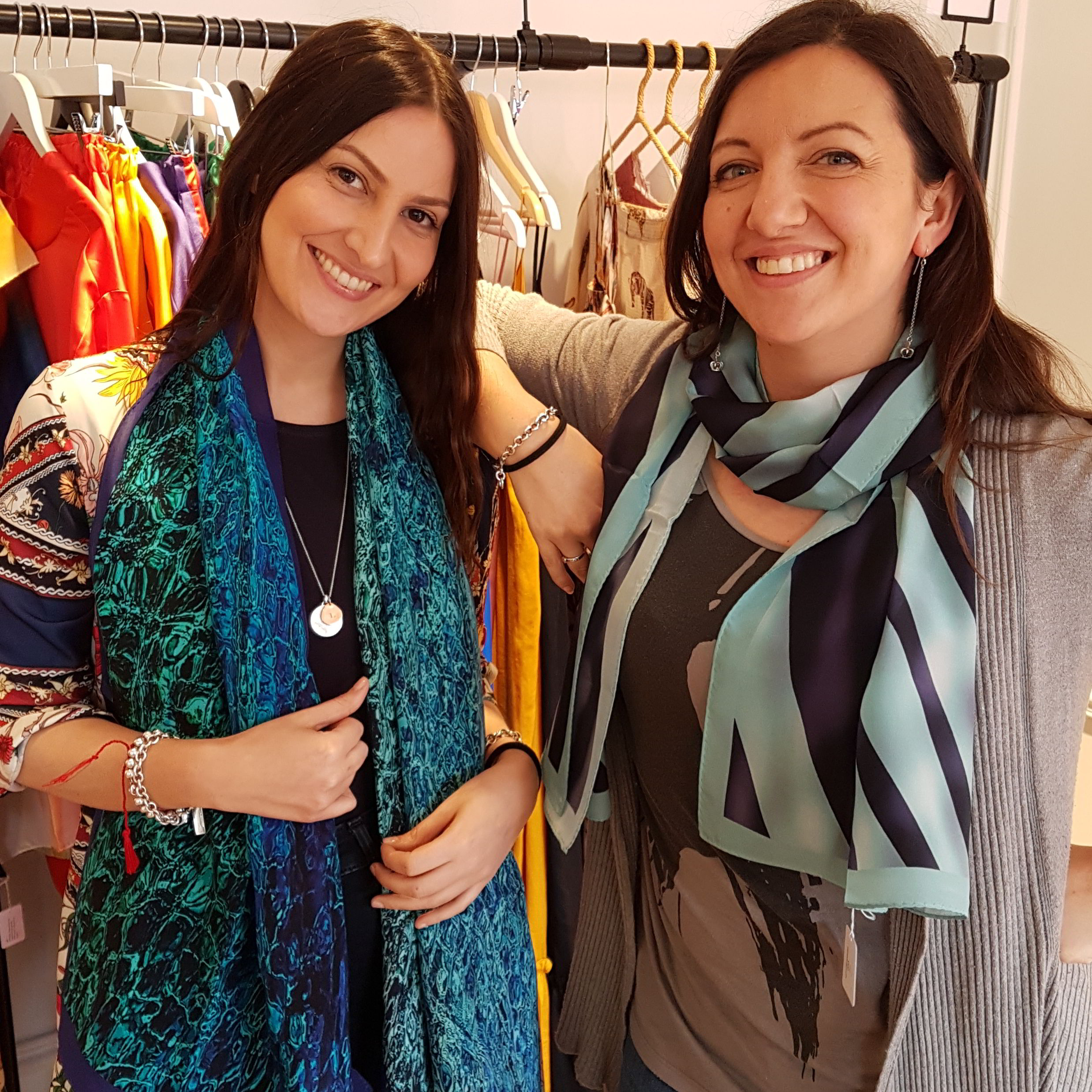 Our friends Leila and Paola from the wonderful multi-brand shop  B-Collect  in Notting Hill, with our  Sicily  and  Nastri  scarves.