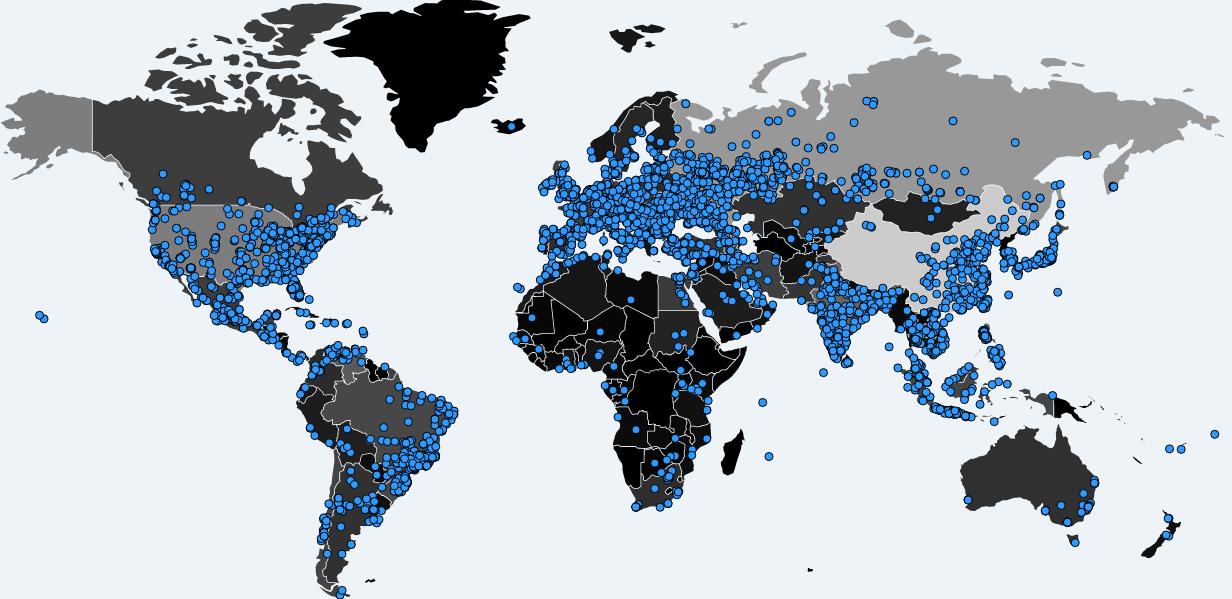 WannaCry infections worldwide (Source:https://intel.malwaretech.com/botnet/wcrypt)