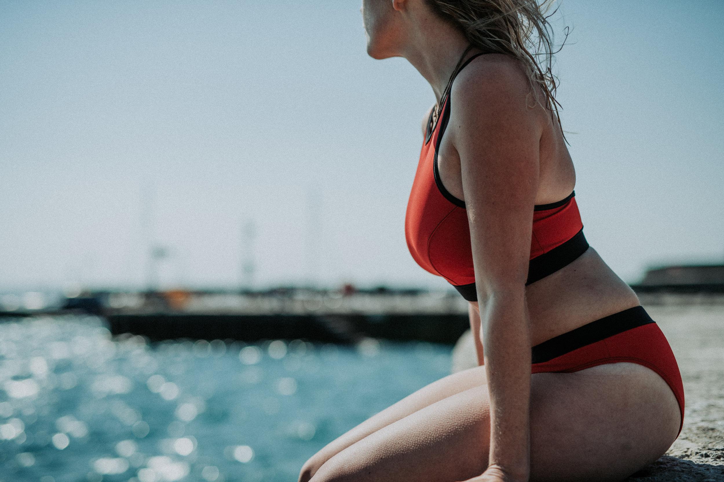 Davy J Red two-piece sporty crop bikini