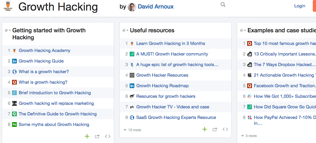 growth hacking list by David Arnoux