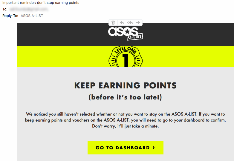 GDPR email marketing reminder from  ASOS .
