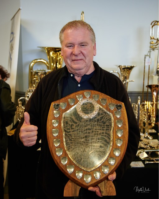 Musical Director Colin Garner with the People Challenge Shield.  Pictures courtesy of    Martin Urch Photography