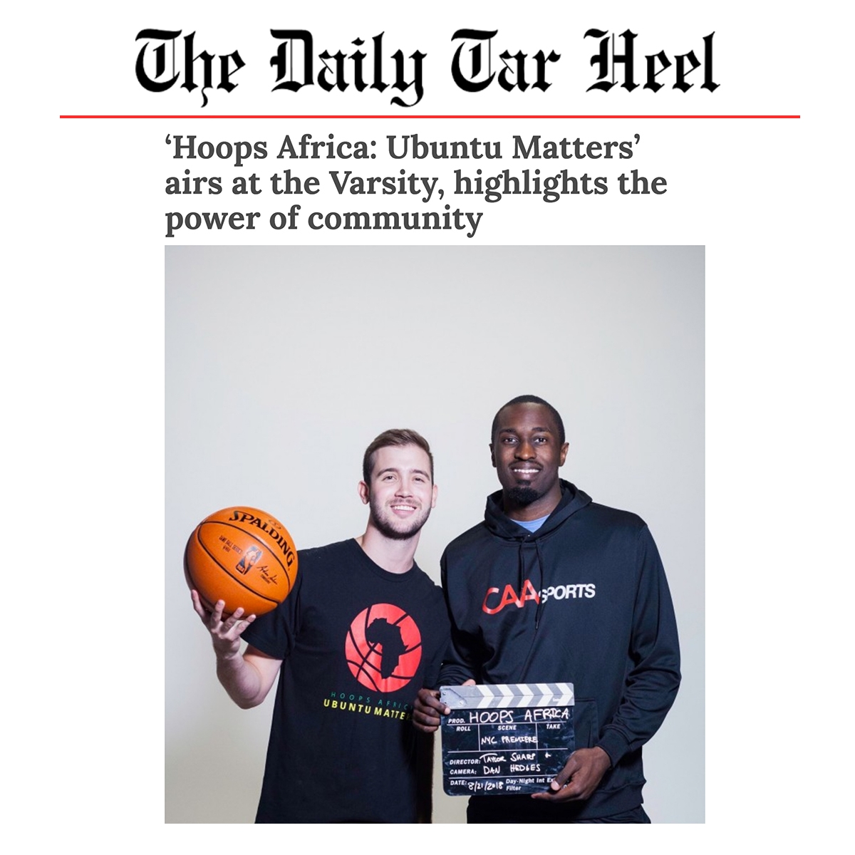 The Daily Tar Heal   Article - 'Hoops Africa: Ubuntu Matters' airs at the Varsity, highlights the power of community