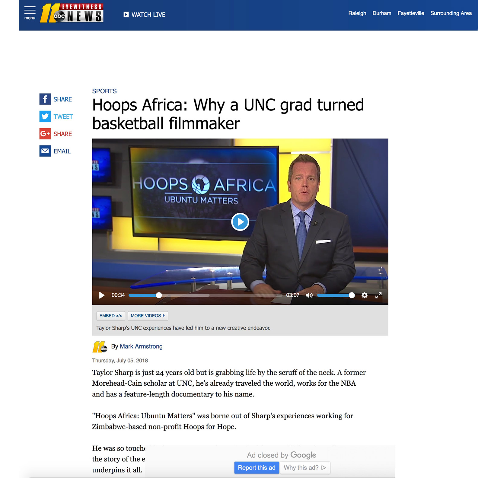 ABC 11 News   Video - Hoops Africa: Why a UNC grad turned basketball filmmaker