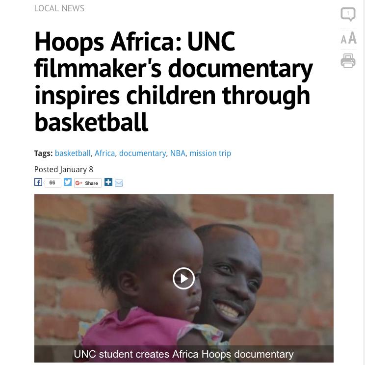WRAL News   Article & Video - A UNC Filmmaker