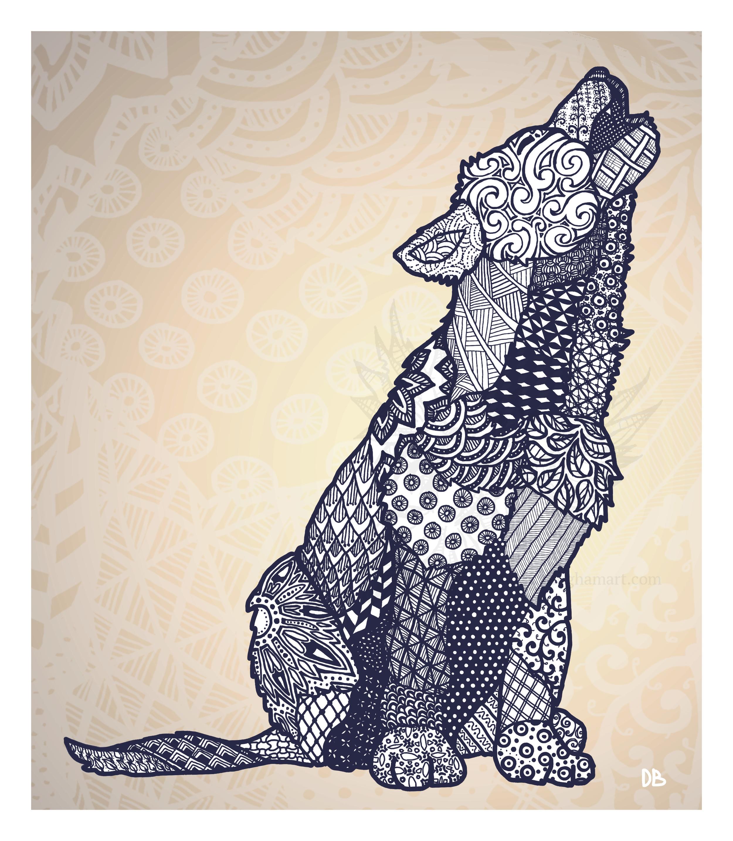 Zentangle Wolf Pup