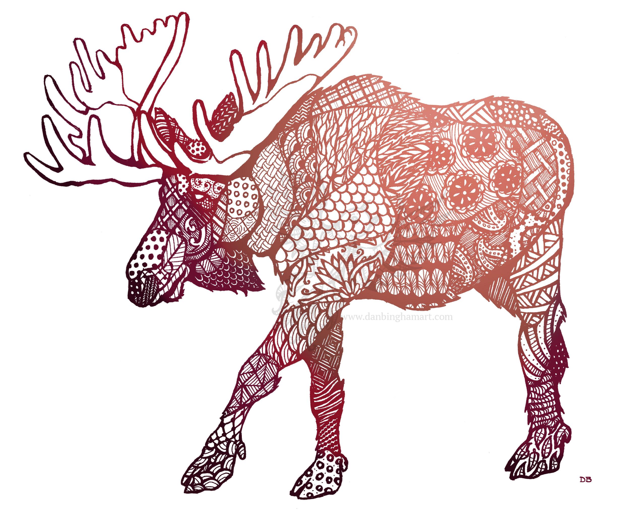 Zentangle Moose