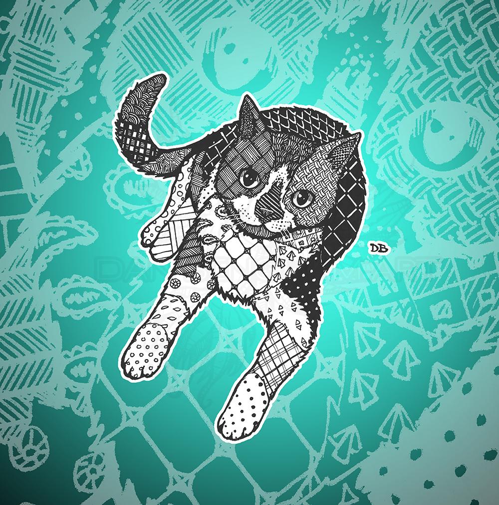 Zen Cat Pet Portrait Commission