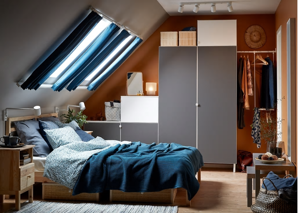 Ikea New Platsa wardrobe system great for awkward spaces. £337 matching products available.   https://www.ikea.com/gb/en/rooms/bedroom/tricky-spaces-call-for-smart-solutions-1364493273064/