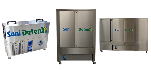 From left to right: Sani Defenx VE decontaminator, Sani Sport Supreme, and Double size machine