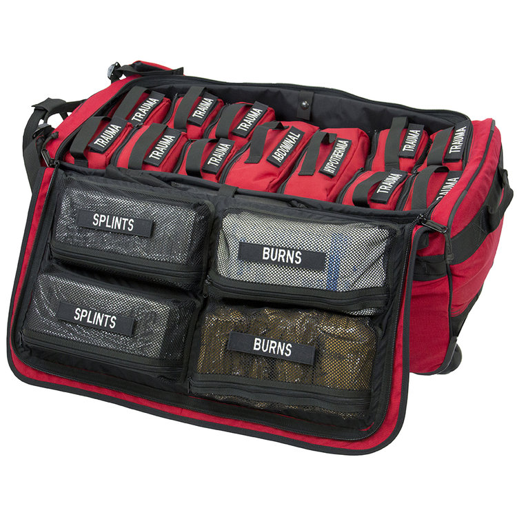 The TACOPS Rolling Mass Casualty Kit was specifically designed for civilian first responders to use in any location where large crowds typically gather. It provides significant enhancements in capabilities, functionality and versatility over every other multi- casualty kit. Inside are ten removable Trauma Pouches, each individually capable of treating 3-4 casualties having traumatic injuries.  Learn More