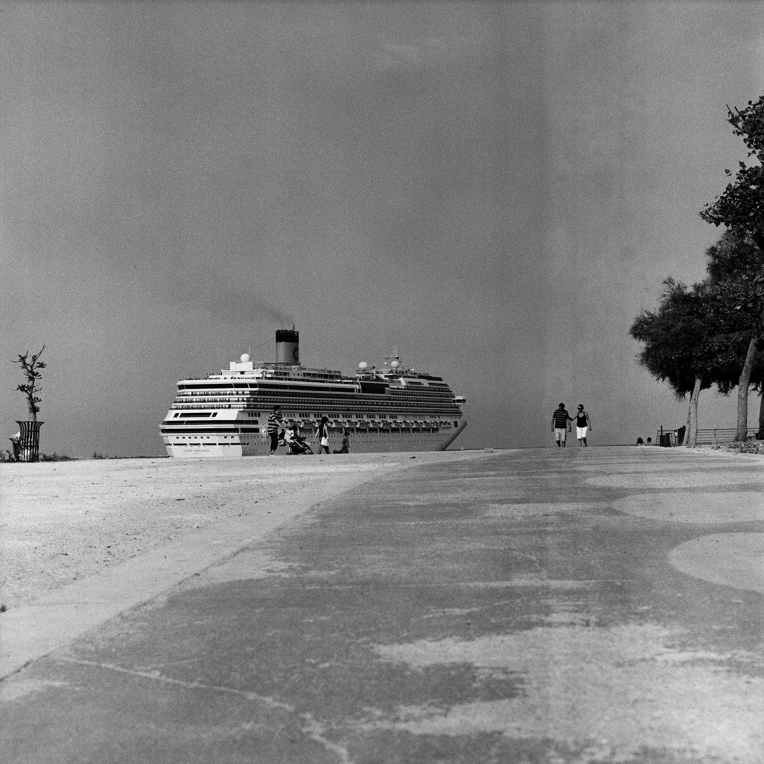 A Costa Crociere cruising ship departs Palermo's harbour.