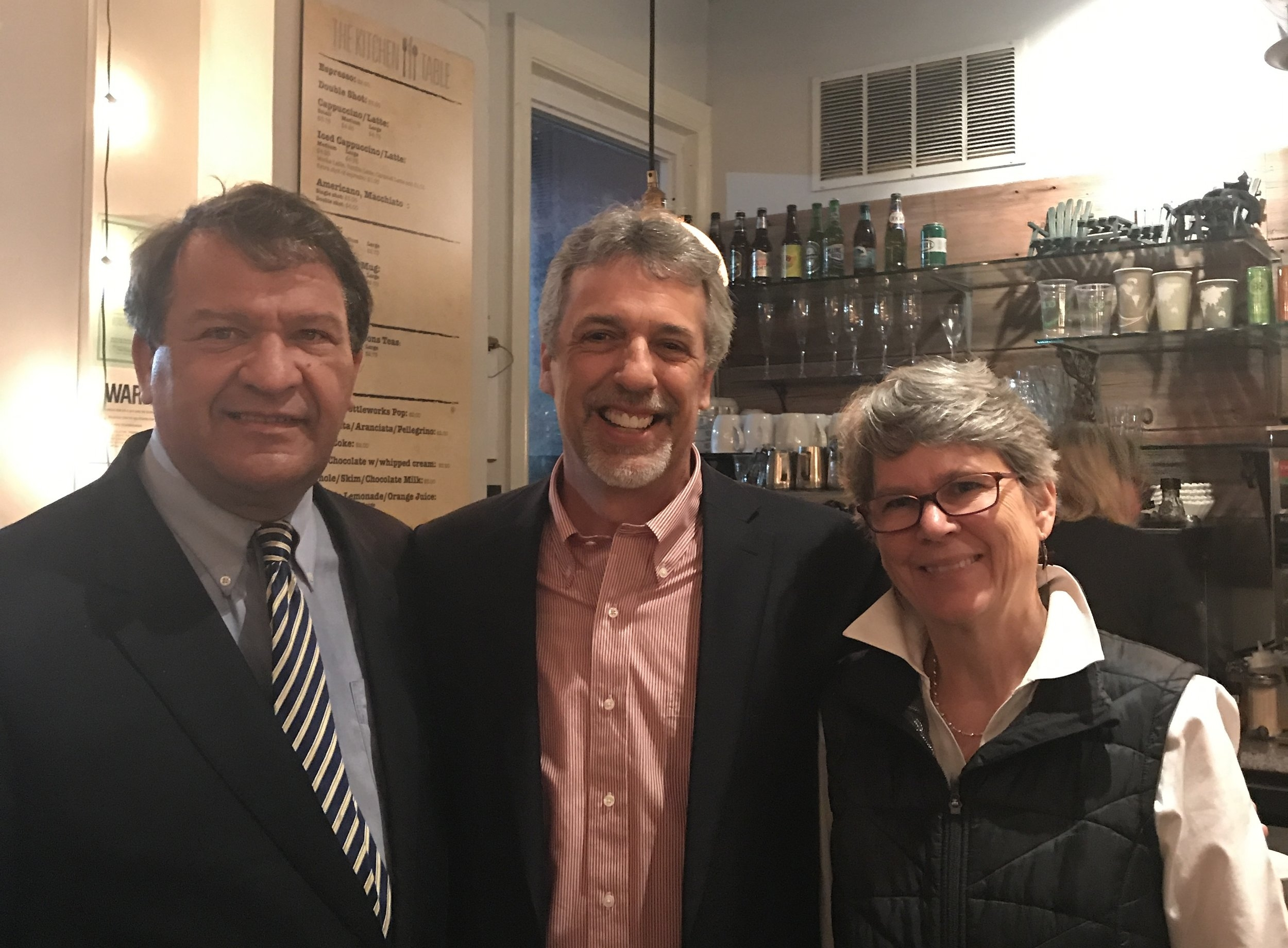 George Latimer (candidate for Westchester County Executive), Kevin Hansan (candidate for Pound Ridge Town Supervisor), and Kitley Coville (candidate for County Legislator).