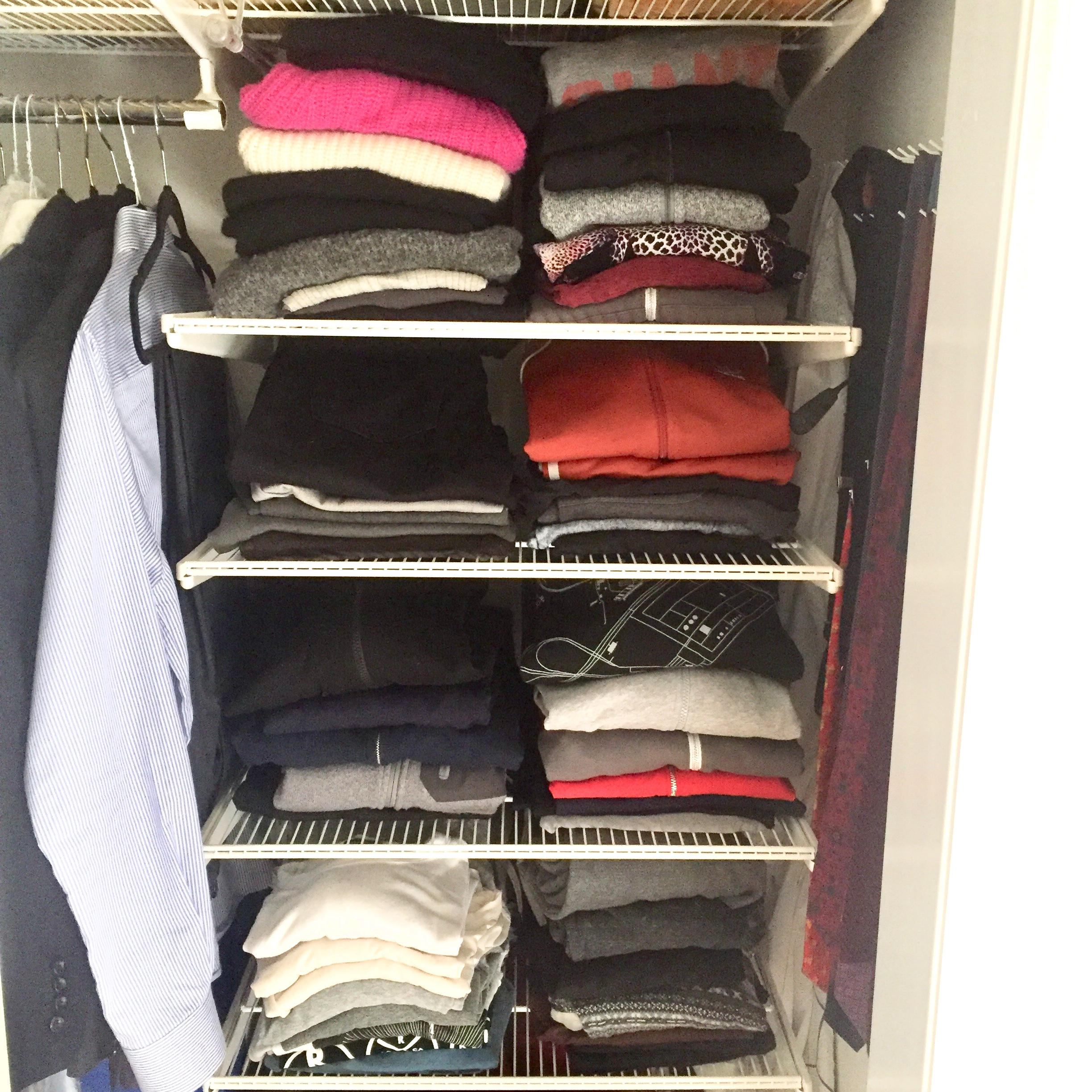 Custom Built-Ins - If you're lucky enough to design the inside of your closet from scratch, Elfa closets work wonderfully! You can customize the shelves/drawers/hanging rods and pick your own adventure.