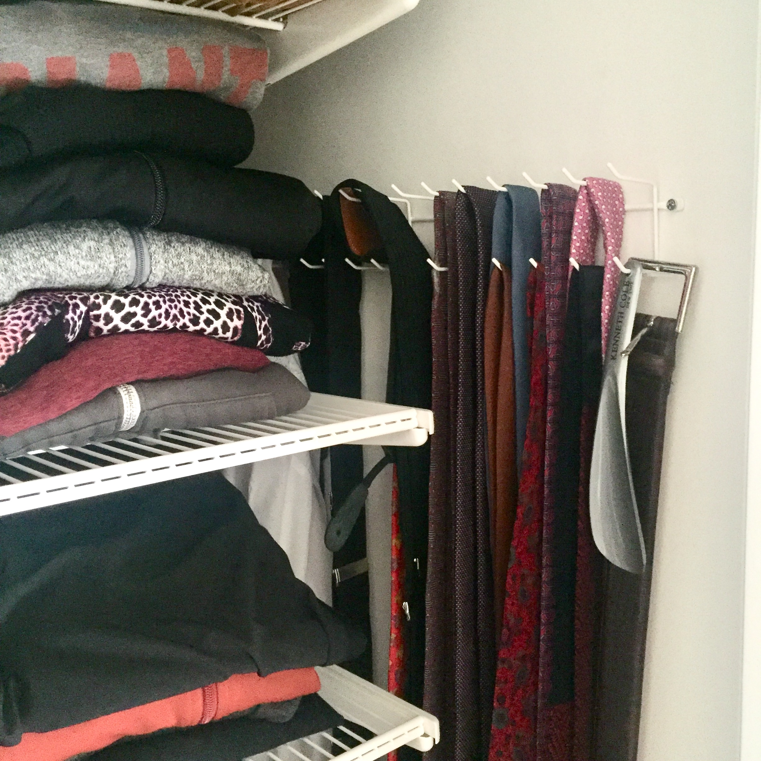 Hidden side hooks - If there's a nook in between your hanging clothing and the wall, add a set of hooks! I've got a set that I use for scarves and my robe and Tidy Husband has one for belts and ties.