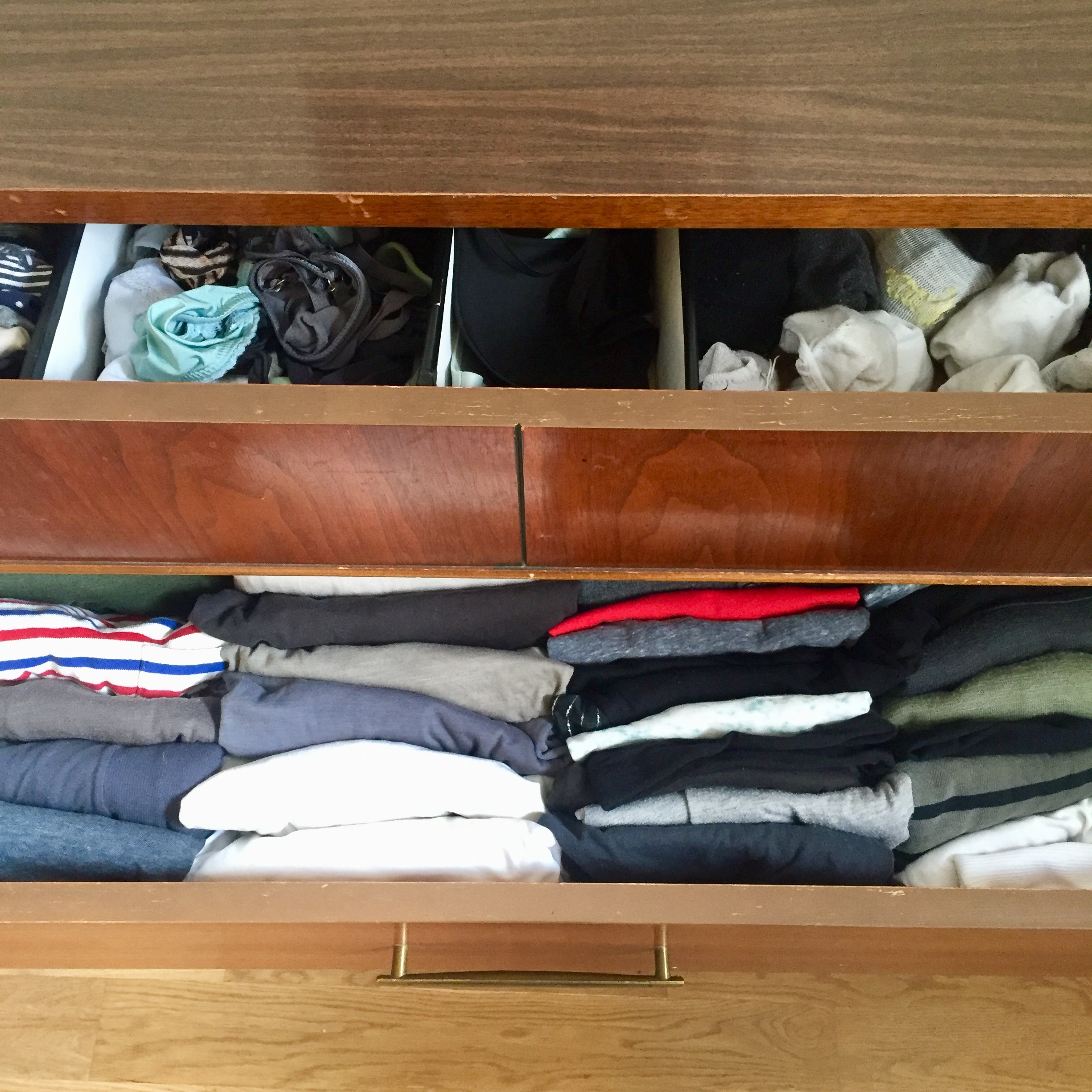 Drawer Dividers - A simple solution for drawer madness is to add walls between categories. Keep the panties from the socks with a divider and keep those shirts in line with the file-folding method combined with a divider. Winningggggg.