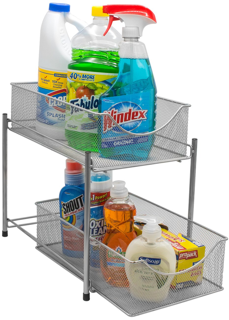 Open-Top Drawers - Drawers with an open top serve a different purpose than those without. If you're storing tall product bottles or cleaning products, opt for a lidless top so they can fit! Use the bottom drawer for smaller things and enjoy the ease of pulling the drawer in and out.