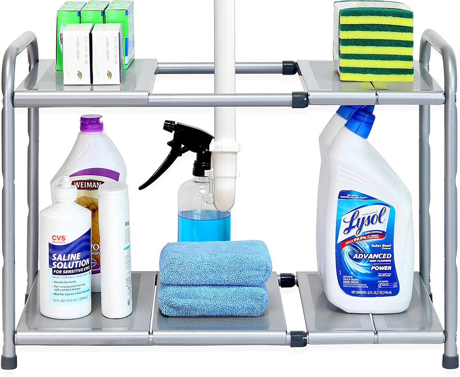 Expandable Shelf - If those pipes are really bogging you down, an expandable shelf is the solution! This guy adjusts to fit around all of the junk under your sink and still provide lots of room to store your collection of products. Winning!