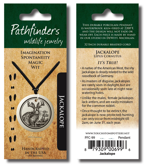 Our Pathfinders line of porcelain jewelry comes packaged as a hang card (above) or in a velvet-lined box (below) with a card describing the meaning of each design and it's animal facts.