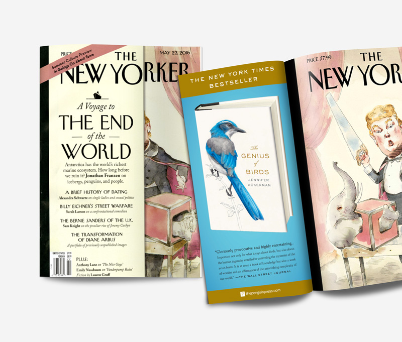 The New Yorker  front flap print ad for  The Genius of Birds .