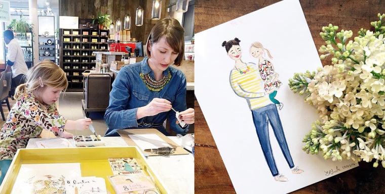 Emma Block Live Illustration - Mother and Daughter