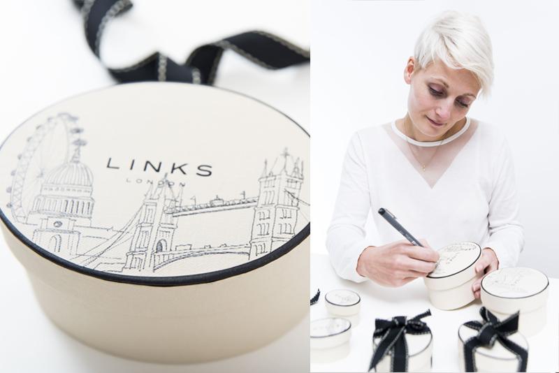 London Skyline Illustration onto Packaging by Willa Gebbie