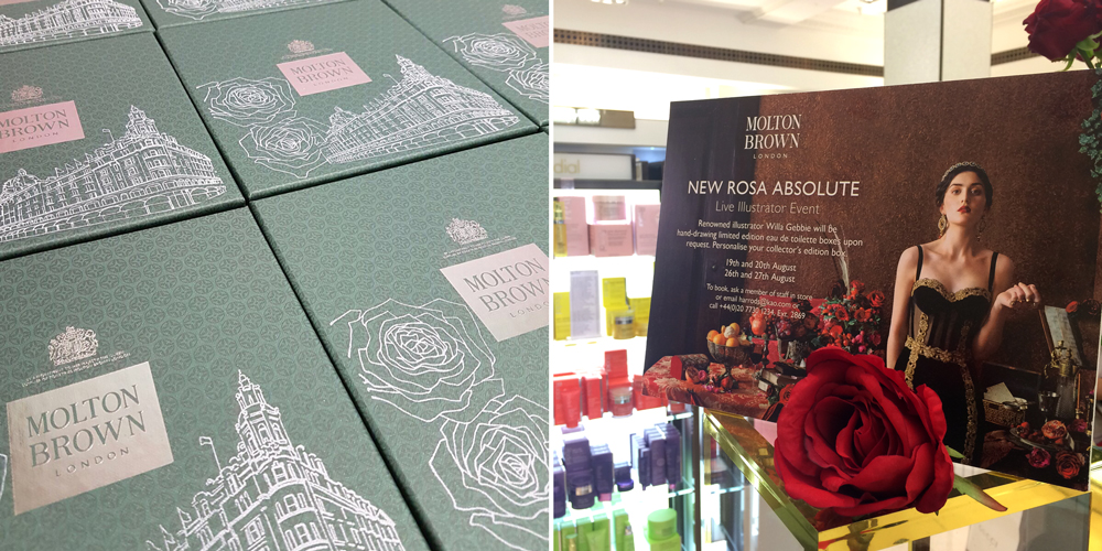 Limited edition packaging, screen printed and live illustration at Molton Brown, Harrods
