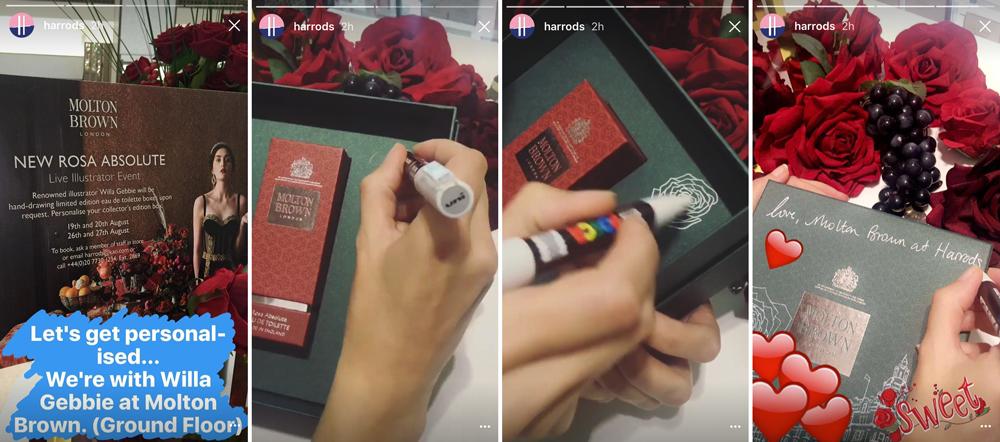 Harrod's instagram stories of Willa's live illustration