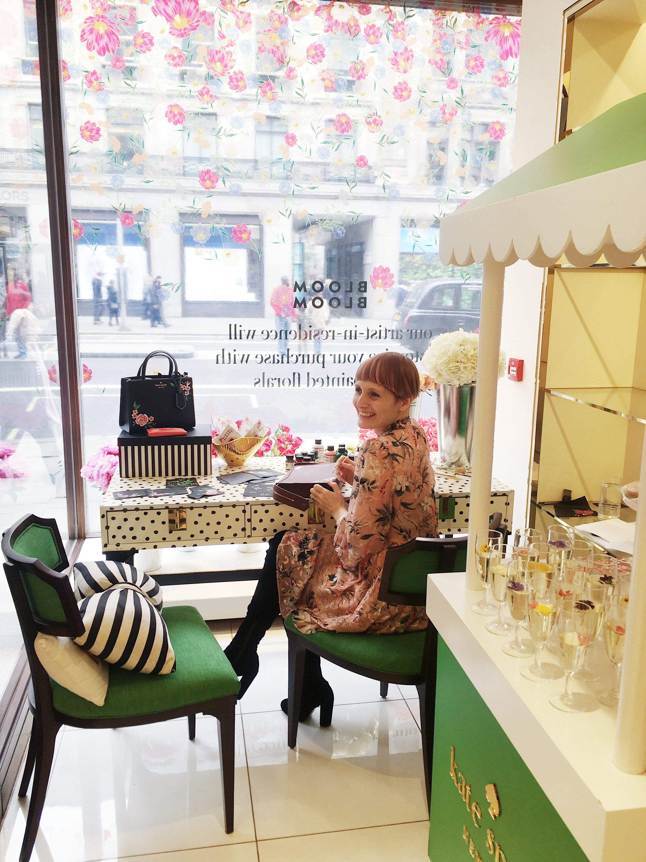 Willa Gebbie offering leather painting at Kate Spade