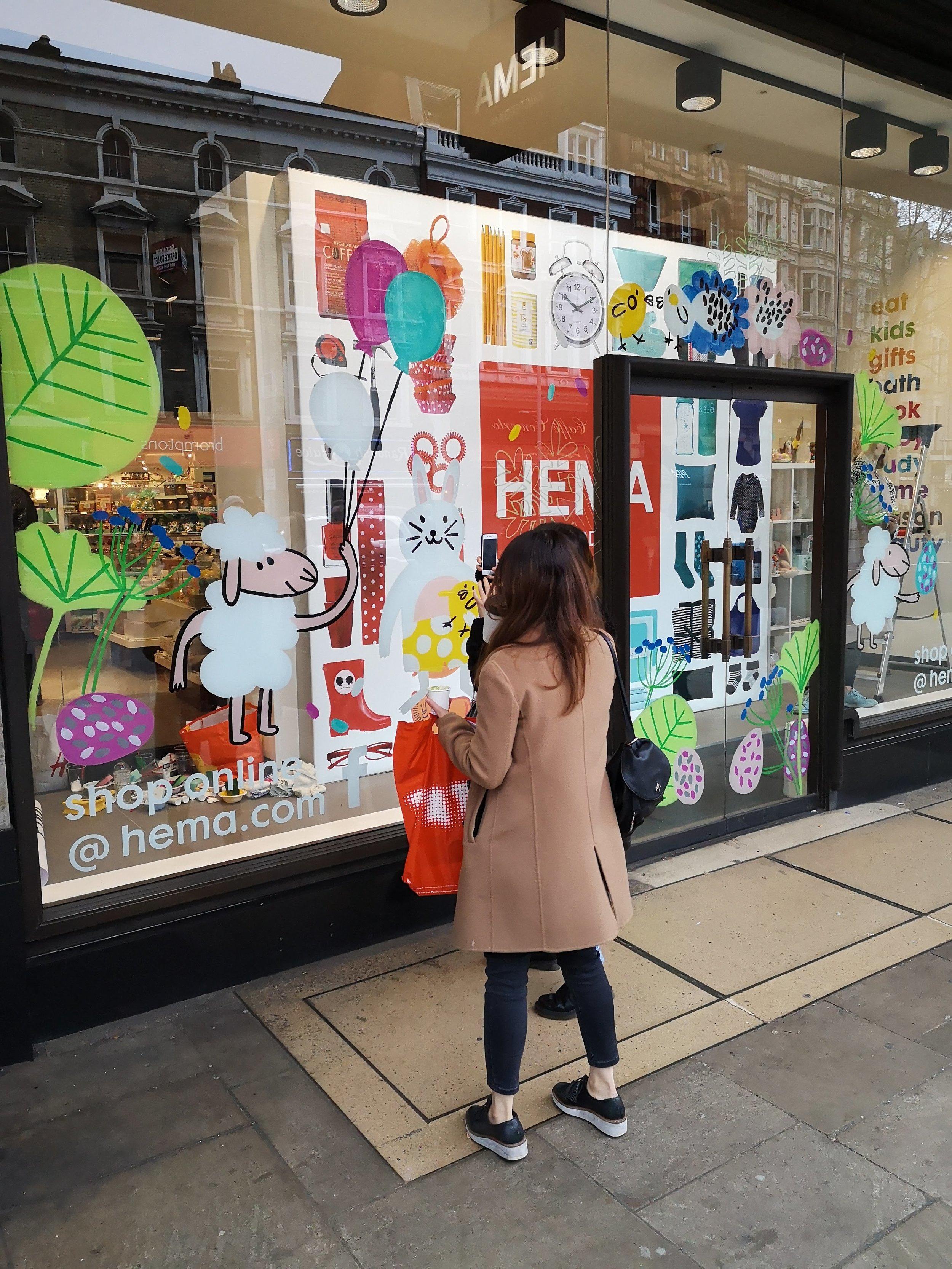 Willa Gebbie Window Painting with Hema London