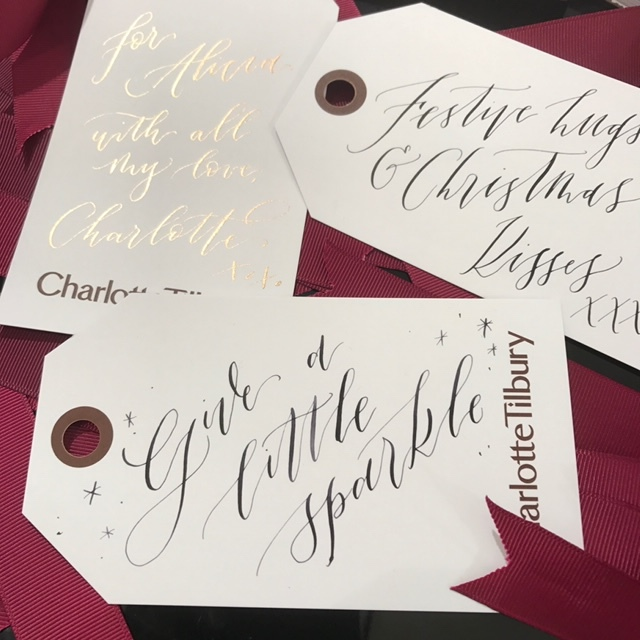 Imogen Owen's calligraphy for Charlotte Tilbury - Personalisation events