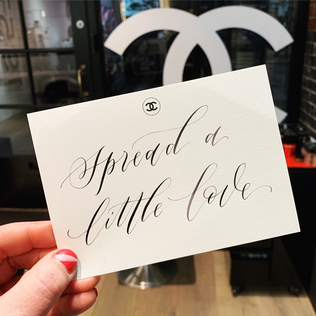 Imogen Owen's calligraphy for Chanel - in-store personalisation event