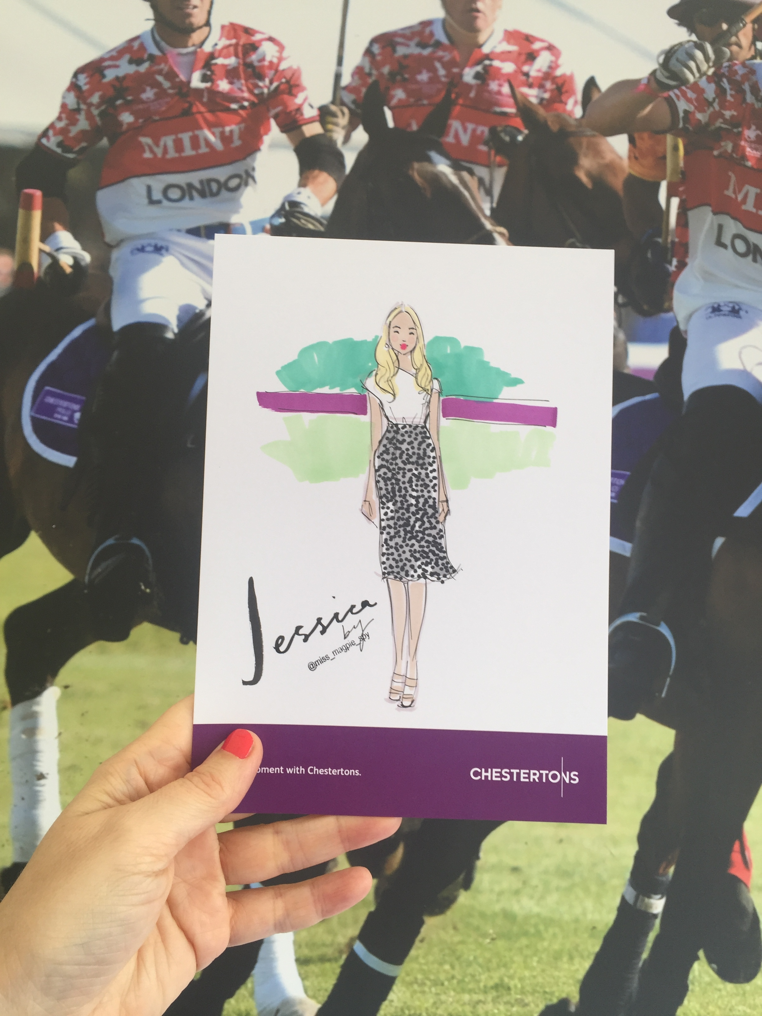 fashion illustration miss magpie polo in the park