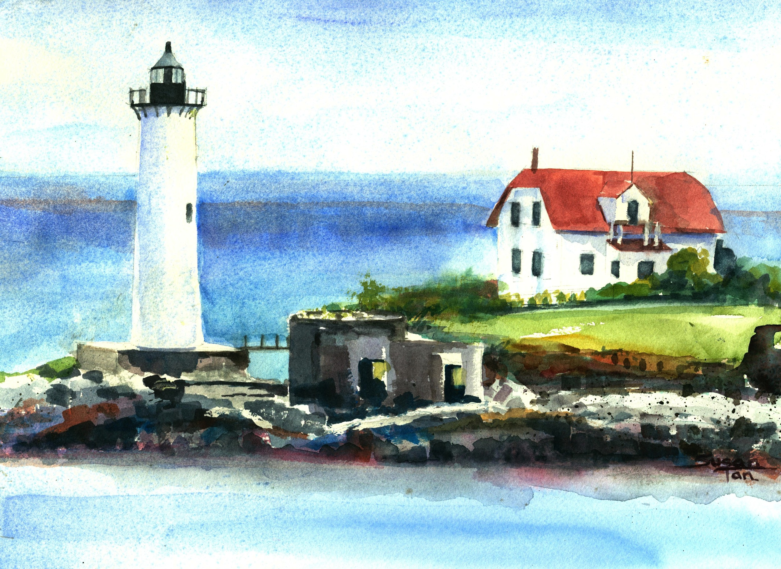Portsmouth Harbor Lighthouse Seen from Kittery, Maine