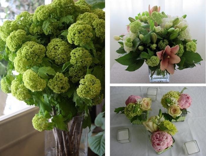 green viburnum arrangements