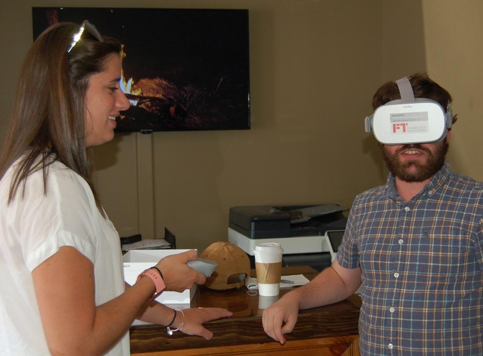 Katie Stuart and Patrick Murphy testing out the virtual tour.