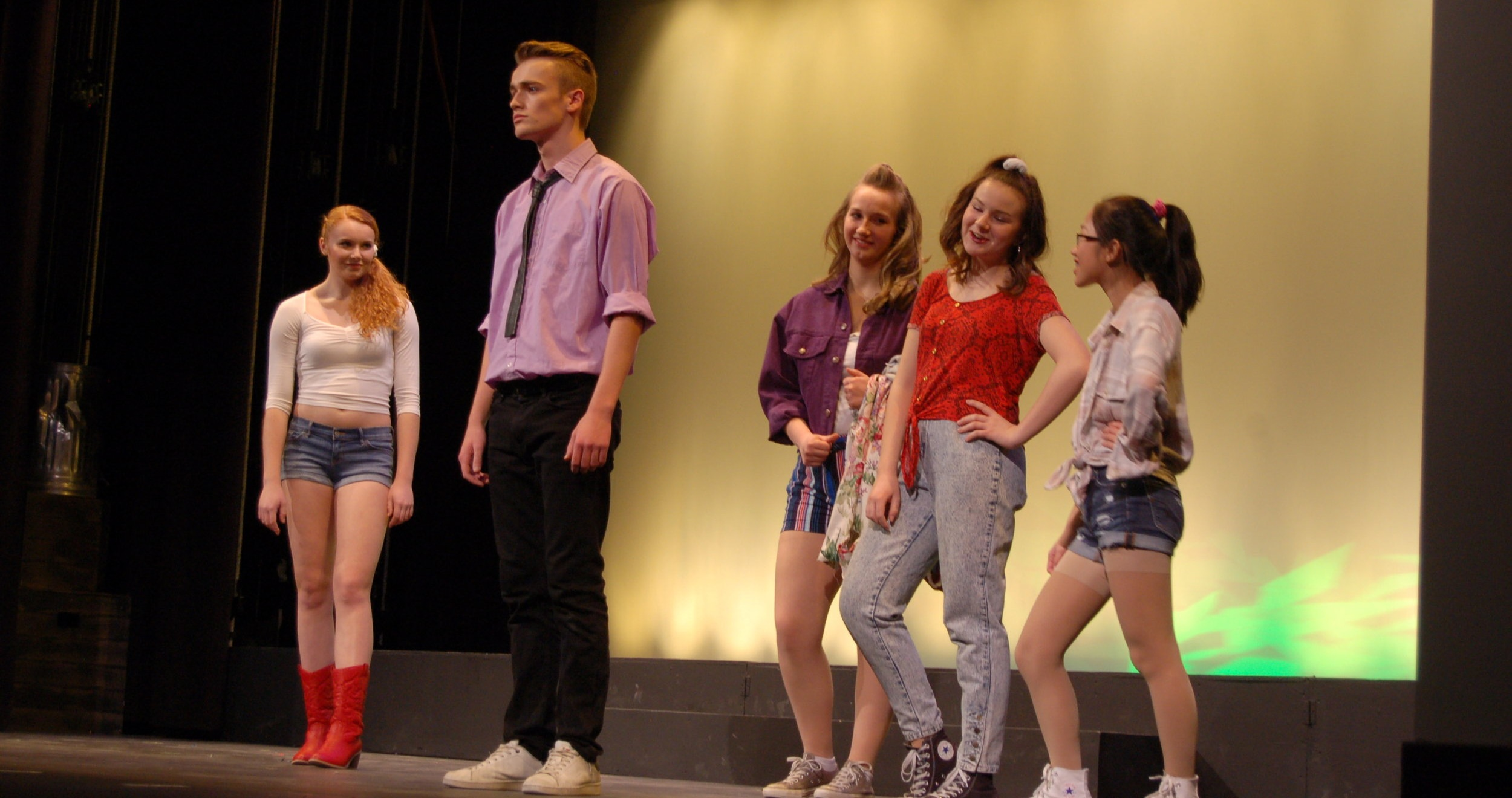 From left, Ariel, played by Sophia Martin, Ren, played by Noah Cordes, Rusty, played by Stephanie Fortune, Urleen played by Lily St. Onge, and Wendy Jo played by Meika Nadeau.