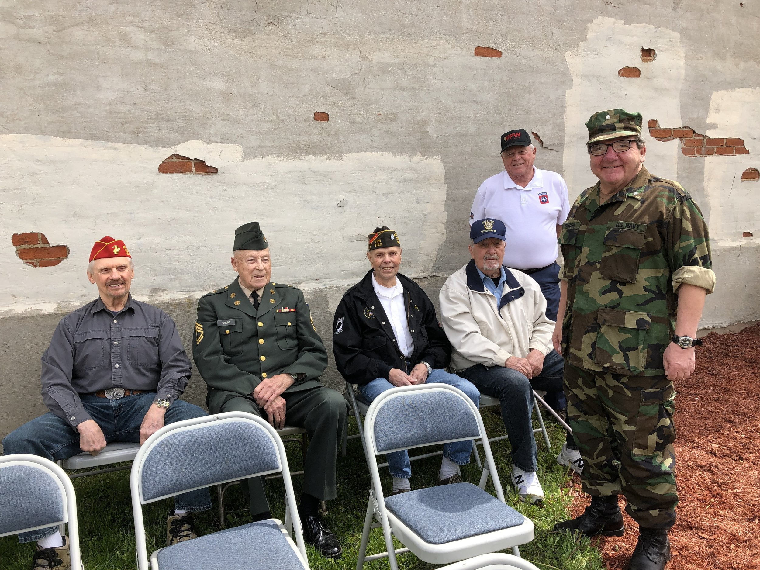Mayor Paul Maroun, in his Navy Reserve fatigues welcomed many of his old friends Monday. From left veterans Craig Bowman, Bob Woods, David Premo, Ben Peets and Stevie Stevensen.