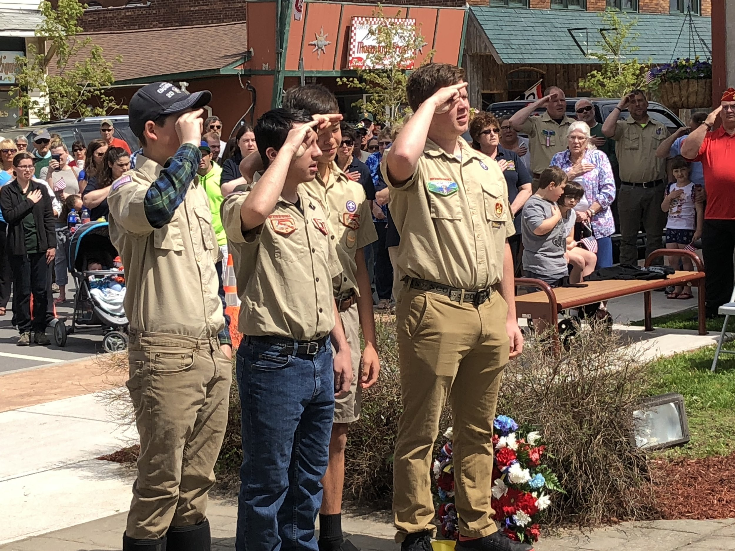 A small delegation of Tupper Lake's boy scouts who included Jamin Whitmore, Ethan Edwards, Brayden Flagg and Christopher Gilman (not in order) led the crowd Monday in the Pledge of Allegiance.