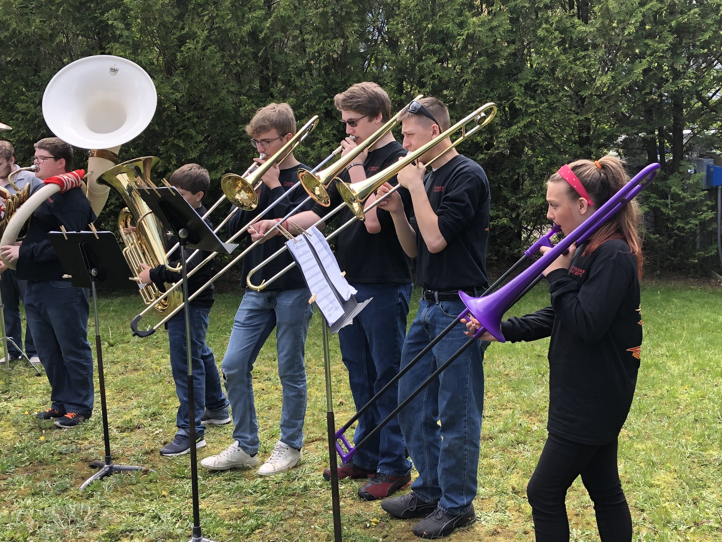 Members of the Tupper Lake High School Band, under the direction of Laura Davison, again performed with great enthusiasm and talent at Monday's Memorial Day ceremonies, treating the crowd to well-played and rousing versions of patriotic anthems and a medley of the official songs of each branch of the American military.