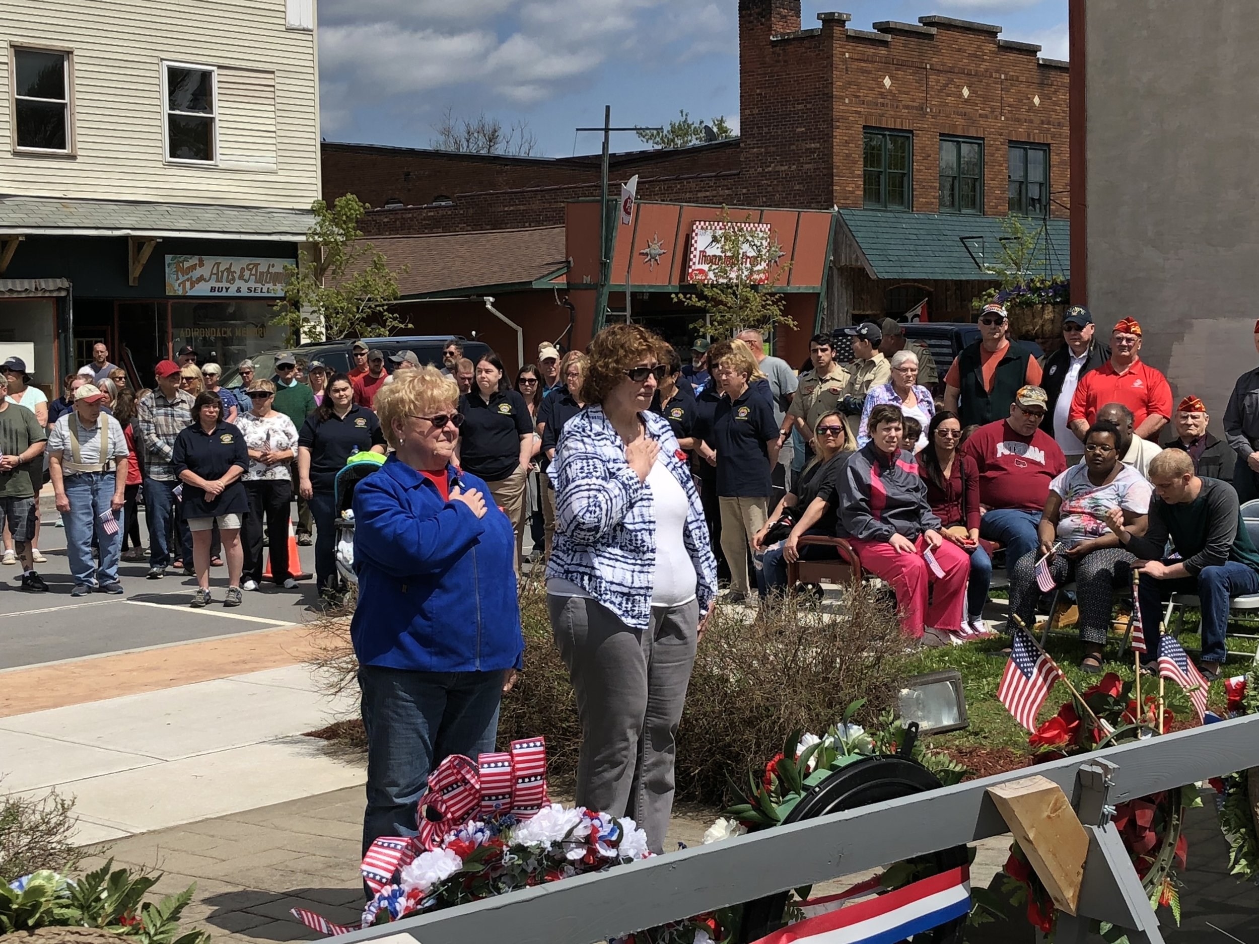 Joanne Wilber and Judy Wilburn laid a wreath on behalf of the Woodmen Lodge.